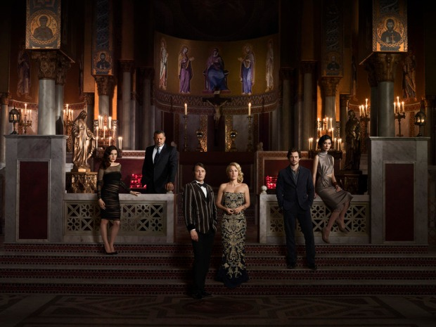 HANNIBAL -- Season: 3 -- Caroline Dhavernas as Alana Bloom, Laurence Fishburne as Jack Crawford, Mads Mikkelsen as Hannibal Lecter, Gillian Anderson as Bedelia Du Maurier, Hugh Dancy as Will Graham, Tao Okamoto as Chiyoh